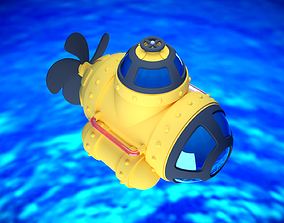 3D model animated Cartoon Submarine