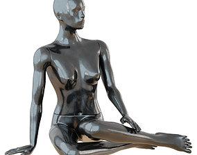 Female Black Mannequin Sitting On The Floor 3D