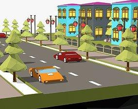 3D asset Cartoon City Low Poly Landscape