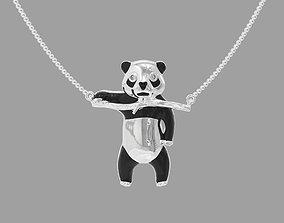Pendant panda bear with enamel and gems 3D printable model