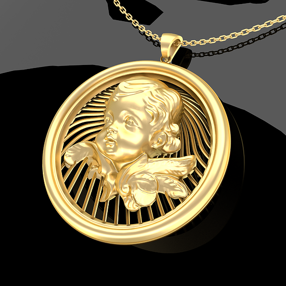 Baby Flower Pendant Jewelry Gold 3D print model