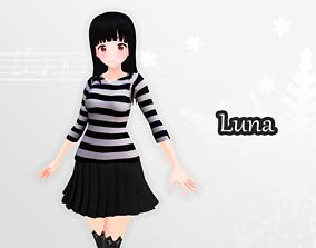 Luna 3d model - Original rigged