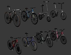 Low Poly bicycle set 3D asset