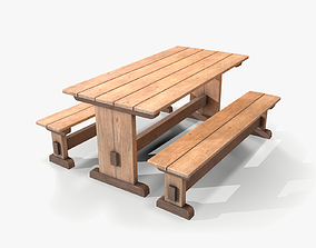 3D model Wooden Table and Bench