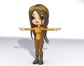 3D asset rigged Cartoon Girl