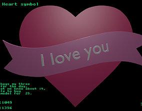 Low poly Heart symbol 3D model