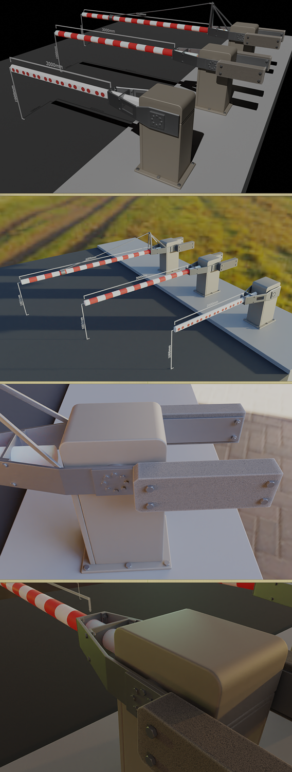 Modern Railway Barriers Set (WIP-3) Blender-2.91 Eevee