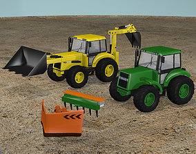 Tractor and Backhoe 3D model