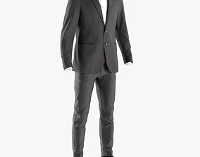 Mens Business Suit with Shirt Shoes 6 3D model