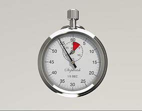 Stopwatch 3D model animated