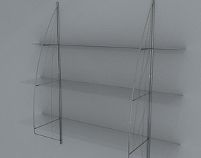 glass and chrome shelves 118cm wide 3D model