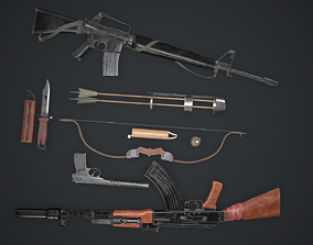 game-ready Survival guns pack Low-poly 3D Models
