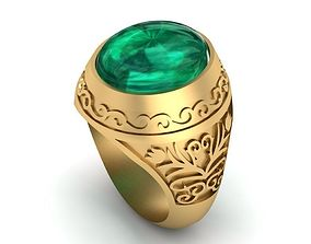 3D printable model Ring with emerald cabochon