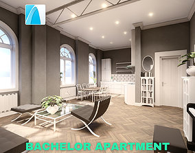 3D Bachelor Studio Apartment Scene - Archicad
