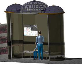 3D model Bus Stop - cultural design