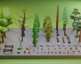 Low Poly Trees Grass and Rocks 3D model