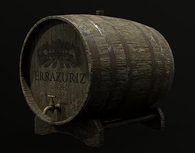 Old Barrel old 3D asset game-ready