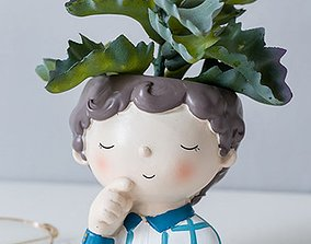 Decoration planter Cute boy 4 of 4 for 3D print - STL