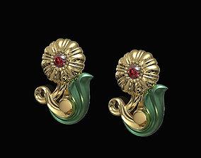 3D printable model Pretty Rose with stalk-Earrings