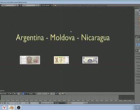 Paper-money models of Moldova and Argentina and 3D asset