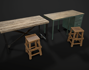 Industrial Furniture 3D model VR / AR ready