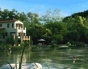 3D house fishing Villa