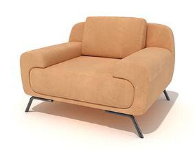Modern Orange Armchair 3D model