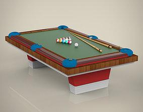 3D model wood Billiard table