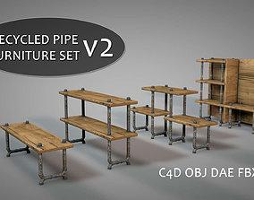 Recycled Pipe Furniture Set v2 3D model