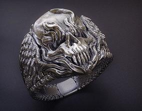 3D print model Winged Fire Skull Ring jewelry