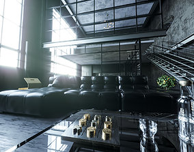 3D model VIP loft room cinema 4D corona render