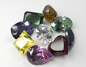 Kinds of precious stones cut 3D print model
