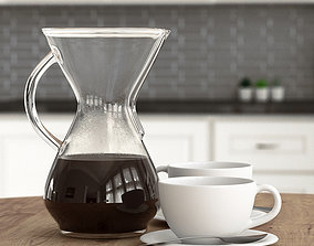 3D model Chemex and Coffee Cups - Pour over Coffee