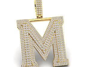 Custom 3D Initial M Letter Pendant