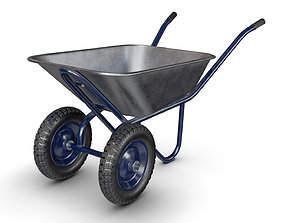 Wheelbarrow Blue 3D model PBR