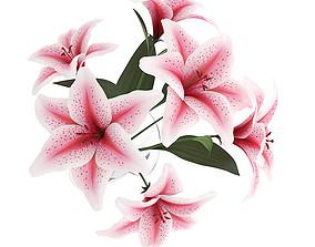 3D Pink Lilies in Vase