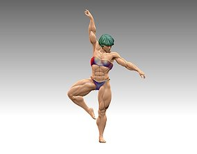 Sculptures woman bodybuilder dancing 3D print 3D model