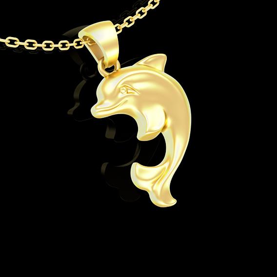Dolphin Pendant jewelry Gold 3D print model