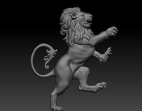3D printable model standing lion