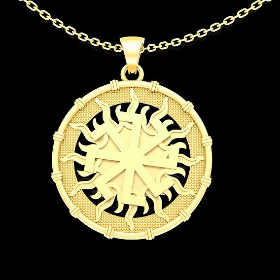 sorcery sun medallion Pendant jewelry Gold 3D print model