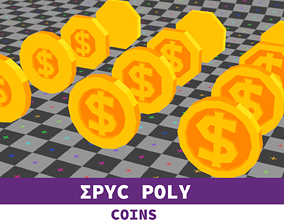 3D asset Epic Poly - Dollar Coin with LOD