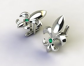 3D printable model Cufflinks with fleur de lis 002