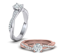 Petite Twisted Diamond Engagement ring 3dmodel canada