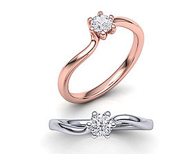 Six-Claw Compass Twist Solitaire ring 3d