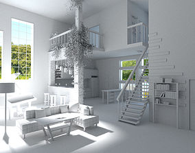 Modern loft with living room kitchen and balcony 3D asset