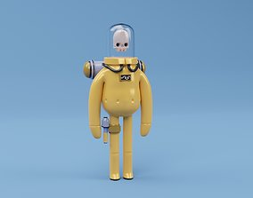 Astronaut character skeleton space 3D model