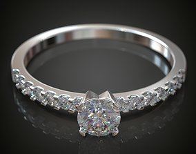 3D print model Engagement diamond ring french set