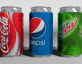 3x 3D Cans PBR soda