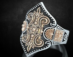 Womens ring with antique patterns 3D printable model 1