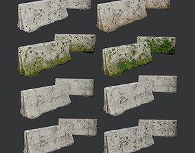 8 Destroyed Concrete Divider Pack Game Ready 3D model